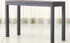 Parsons Travertine Top & Dark Steel Base 48x16 Console Tables