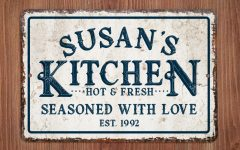 Personalized Distressed Vintage-Look Kitchen Metal Sign Wall Decor
