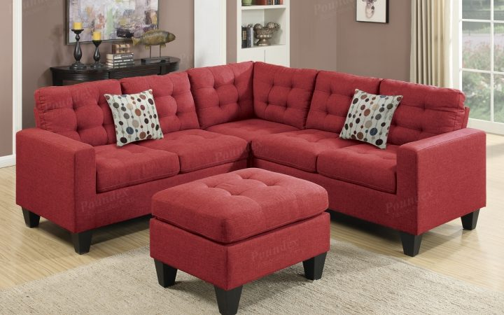 Red Sectional Sofas with Ottoman