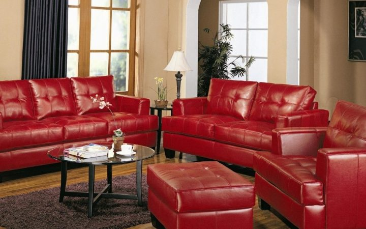 Red Leather Couches for Living Room