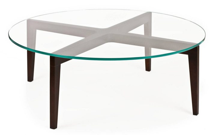 Round Glass and Wood Coffee Tables
