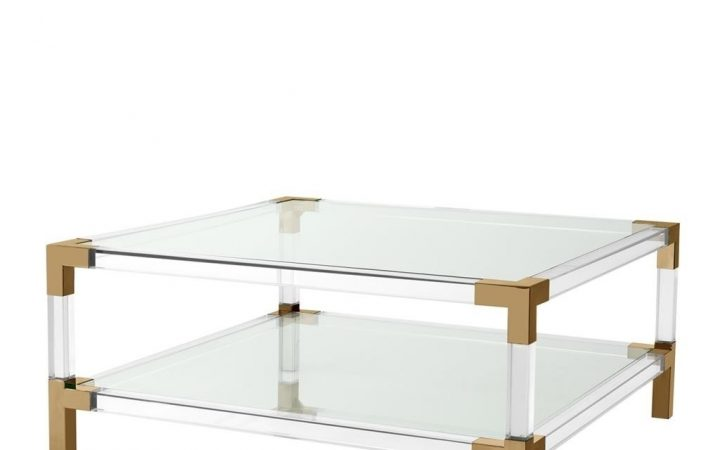 Acrylic & Brushed Brass Coffee Tables
