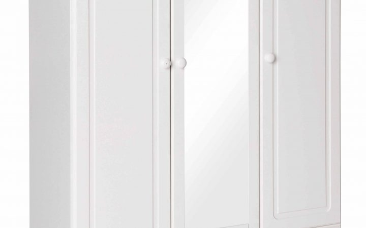 3 Door White Wardrobes with Drawers