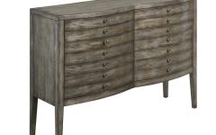 Wood Accent Sideboards Buffet Serving Storage Cabinet with 4 Framed Glass Doors