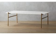 Large Slab Marble Coffee Tables With Antiqued Silver Base