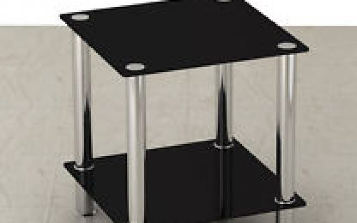 Modern Small Black Glass Coffee Table