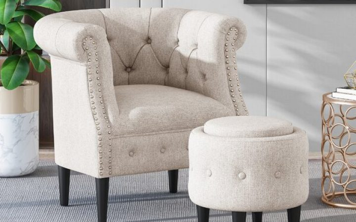 Starks Tufted Fabric Chesterfield Chair and Ottoman Sets