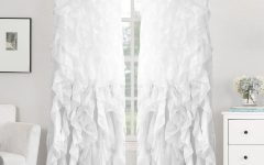 Sheer Voile Waterfall Ruffled Tier Single Curtain Panels