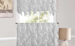 Vertical Ruffled Waterfall Valances and Curtain Tiers