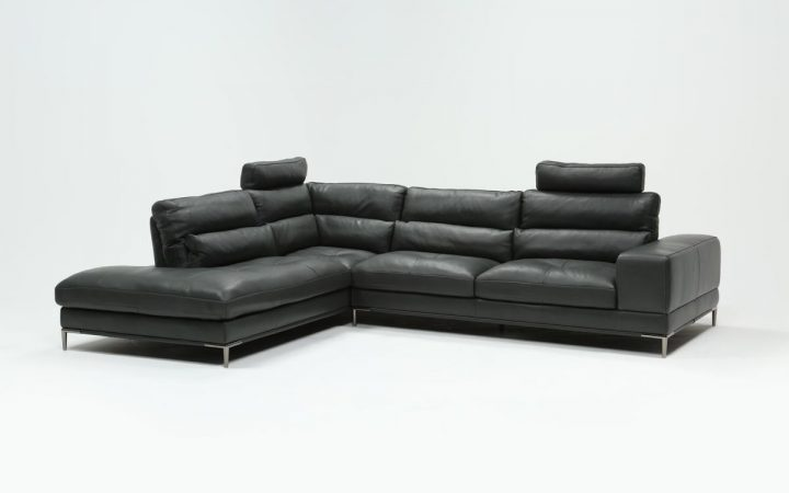 Tenny Dark Grey 2 Piece Left Facing Chaise Sectionals with 2 Headrest