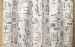Vintage Sea Shore All Over Printed Window Curtains