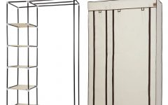 Double Canvas Wardrobe Rail Clothes Storage Cupboard
