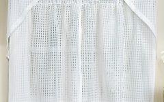 White Tone-on-tone Raised Microcheck Semisheer Window Curtain Pieces